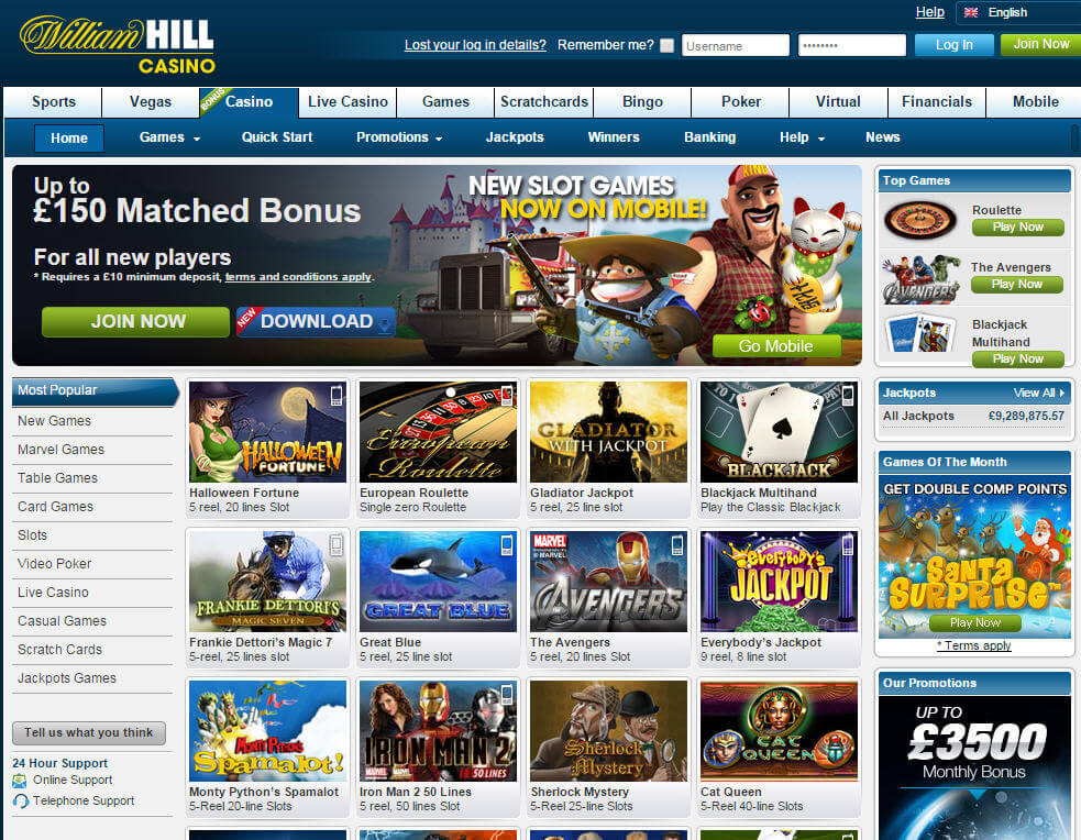 online casino william hill free  games