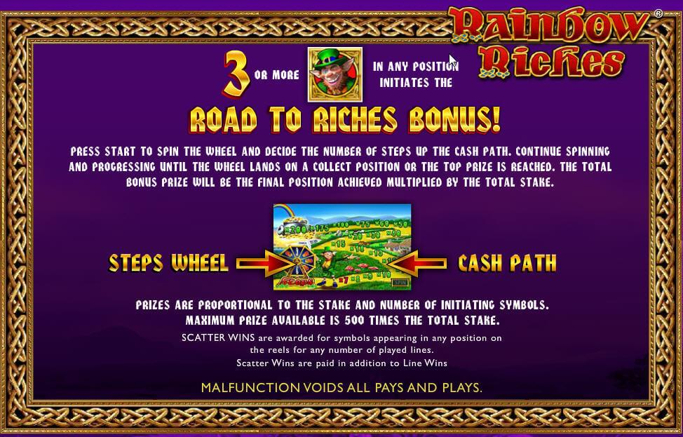 rainbow riches slot game bonus