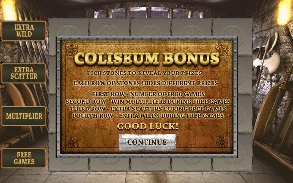 Gladiator slot game colisuem bonus round