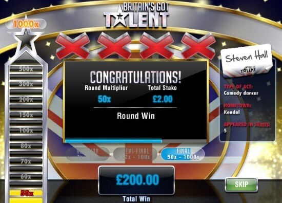 Britain's Got Talent Slot Game Bonus Round Win