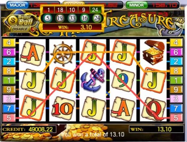 DOLLAR BAR feature of Captain's Treasure Slot
