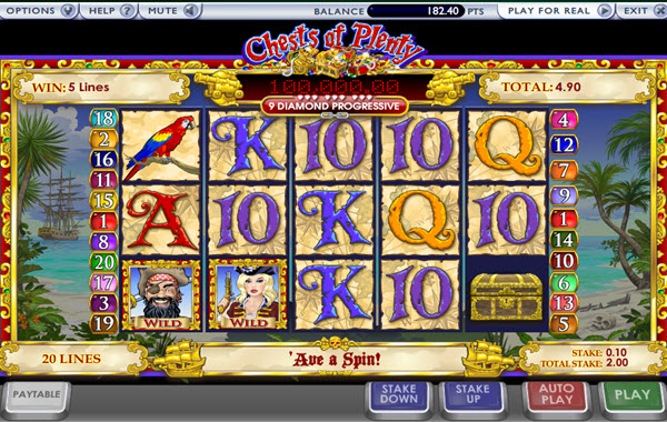 wild symbol of chests of plenty slot game