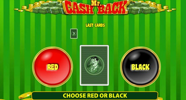 gamble feature of Mr. Cashback slot