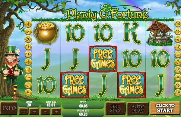 free spins of Plenty O'Fortune