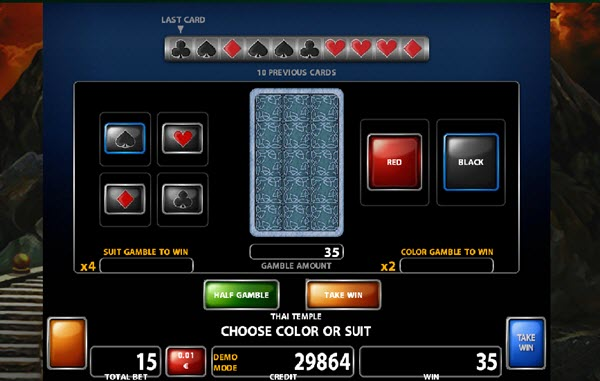 gamble feature of thai temple slot