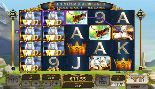 white symbol of white king slot game