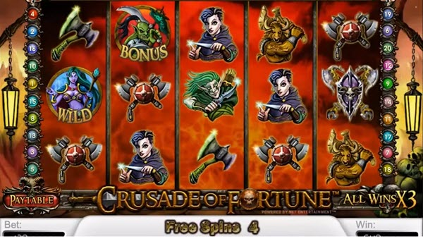 free spins of cruasade of fortune slot game