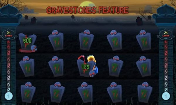 Gravestones Feature of alaxe in zombielans slot game