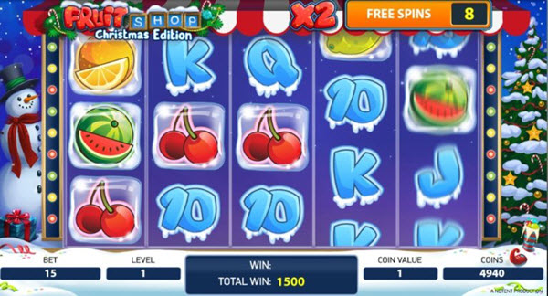 free spins of Christmas edition of the Fruit shop slot game