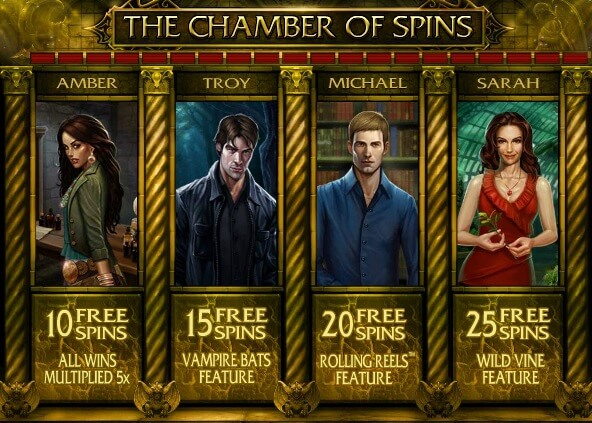 Chamber of Spins bonus round of immortal romance slot game