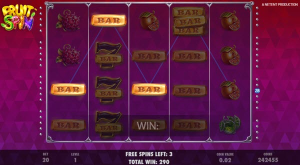 free spins of fruit spin slot game