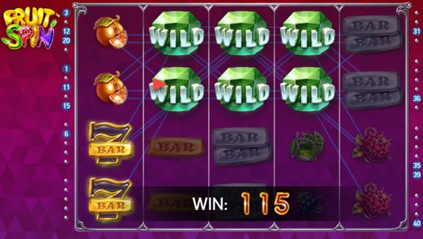 wild symbolo of fruit spin slot game