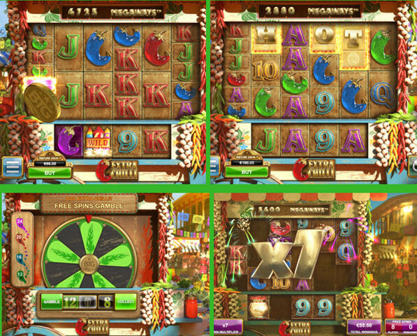 wild,scatter, multipliers of extra chilli slot games