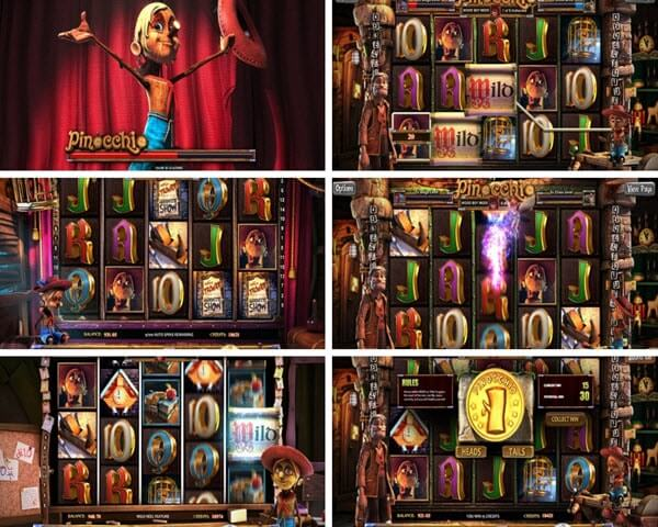 features of Pinocchio slot game-Betsoft slots